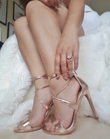 Rose gold ankle-tie heels from Asos