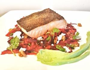 Crispy skin salmon on raw energy salad